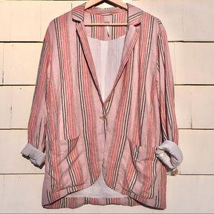 New Free People Simply Stripe Linen Blend Blazer